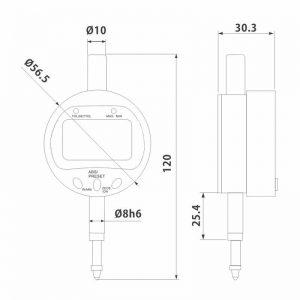 Digital måleur 25,4 mm x 0,001 med TOL-/Min-/Max- funktion