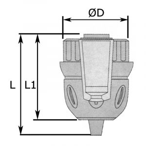 Borepatron 0,8-10 mm, m/lås. Gevind 3/8-24UNF