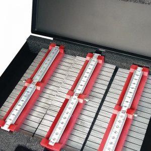 Kontur- og Profilmåler sæt med 5 enheder og lineal i robust kuffert